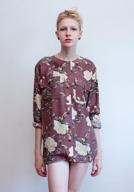 vintage silk blouse / floral minimal blouse / M