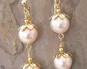 Natural Pink Freshwater Pearl and Gold Vermeil Cap Earrings