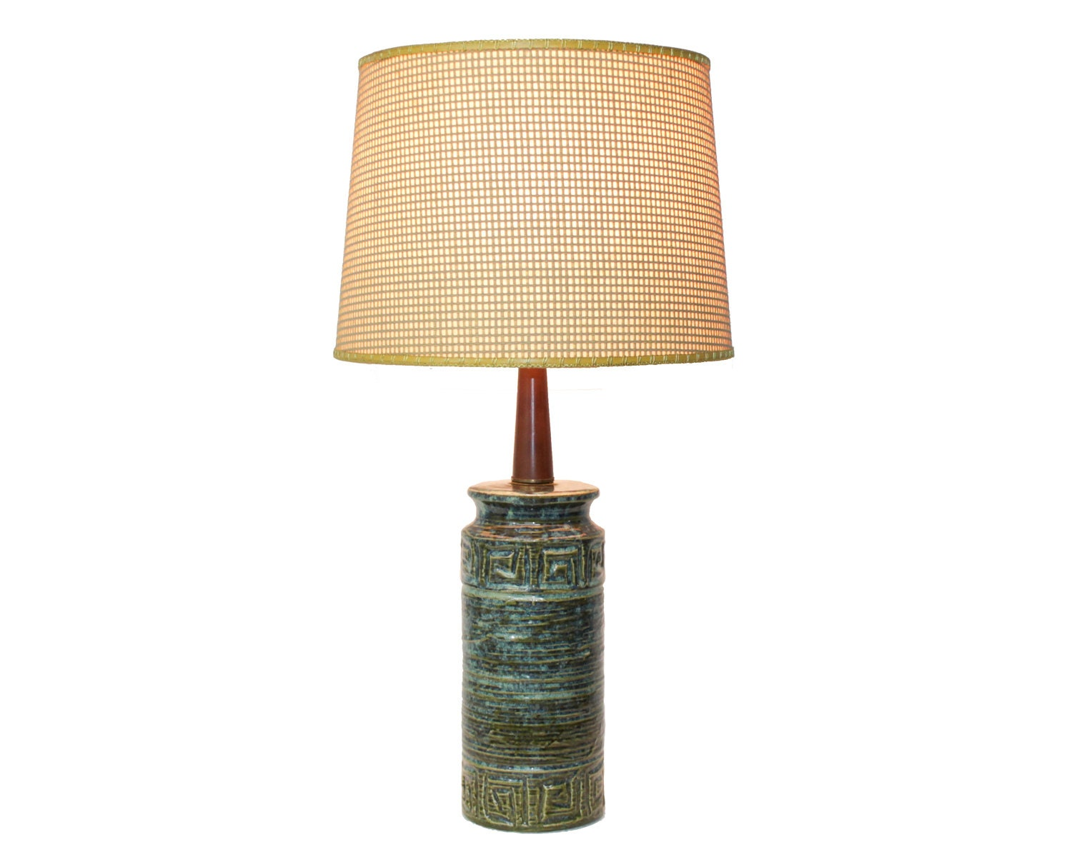 mid century modern pottery lamp with shade green drip glaze. Black Bedroom Furniture Sets. Home Design Ideas