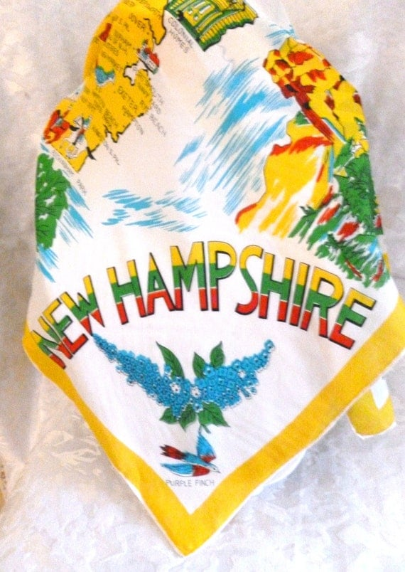 Vintage State of NEW HAMPSHIRE Scarf,   30 x 29  - Lots of Color - Excellent condition