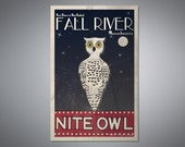"Retro styled Fall River, MA Travel Poster- ""Nite Owl"""