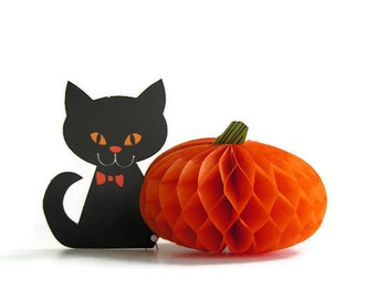 Vintage Halloween Party Decoration Black Cat Orange Honeycomb Pumpkin