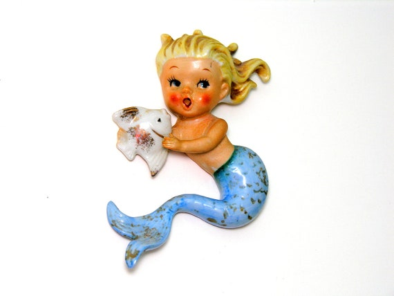 Mermaid Wall Plaque Norcrest Porcelain Blonde Hair Blue Tail Fish Vintage Beach Cottage Kitsch Figurine