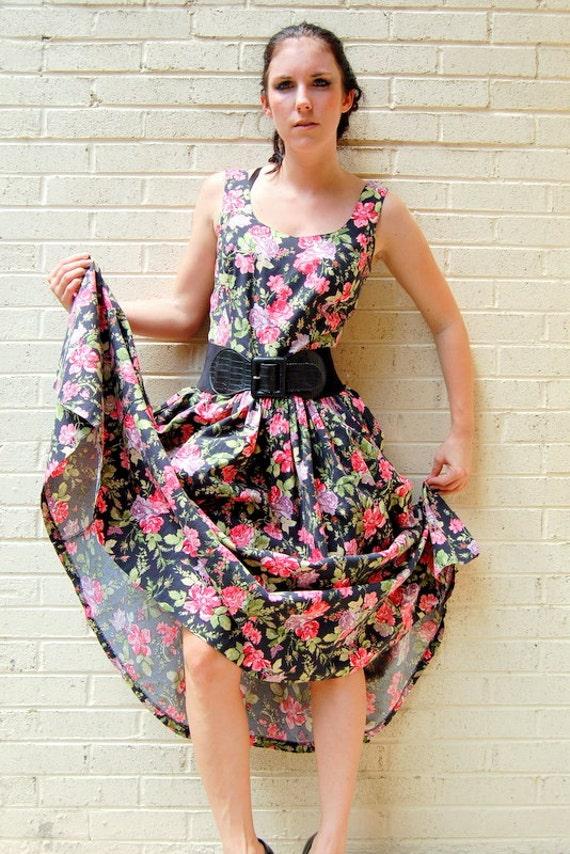 Secret garden floral cotton dress 1950s 1990s