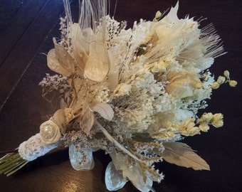 Natural Wedding Bouquet - Romantic Vintage Dried Ivory Roses Leaves Bleached Peacock Feathers Lace Pearls Lunaria Winter Bridal