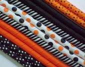 12yds--Trick or Treat Dots--Halloween--Black and Orange---Korker Ribbon