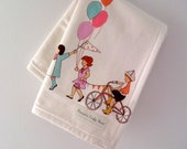 "ORGANIC eco-friendly blanket with loops in ""Children And Balloons"" (GOTS certified organic & domestically made)"