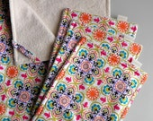 "Ready-to-ship / Free US Shipping: ORGANIC eco-friendly blanket w/loops & 3 matching washcloths in ""Whimsical Flowers"" (baby girl gift set)"