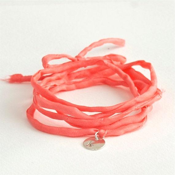 WEEKLY SPECIAL 30% OFF -- Monogram Wrap Bracelet . coral . custom hand stamped . handmade jewelry by MoshPoshDesigns