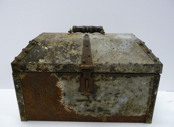 Antique Metal Trunk Box Pirate Chest Large Rivets Wood Handle