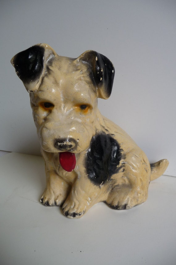 Antique Carnival chalkware Dog Terrier statue Black and white