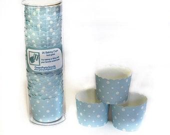 Baking Cups Powder Blue Polka Dots-pkg25