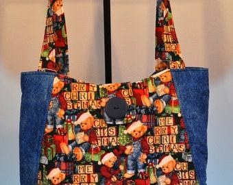 Teddy Bear's Christmas Print Quilted Hobo style handbag purse