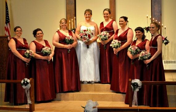 Bridesmaid dress floor length surplice bodice empire waist satin custom made to order