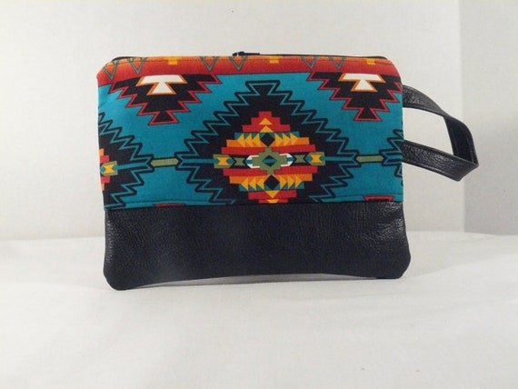 Native American print clutch - Cotton and leather - zipper pouch cosmetic bag