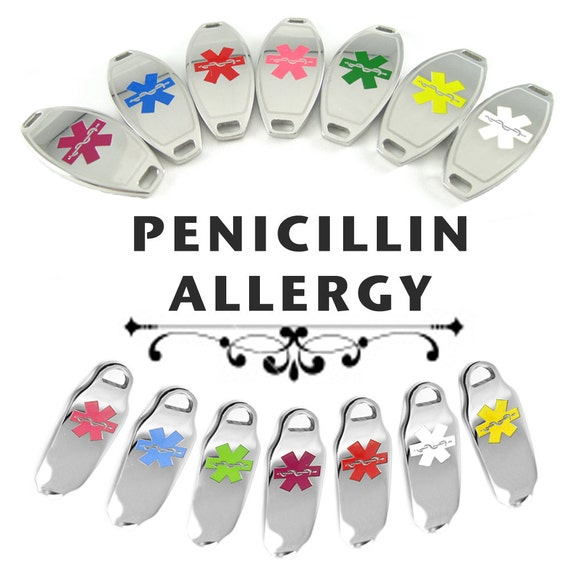 PENICILLIN ALLERGY Alert ID plate Pre-Engraved, for Stylish Beaded Bracelets