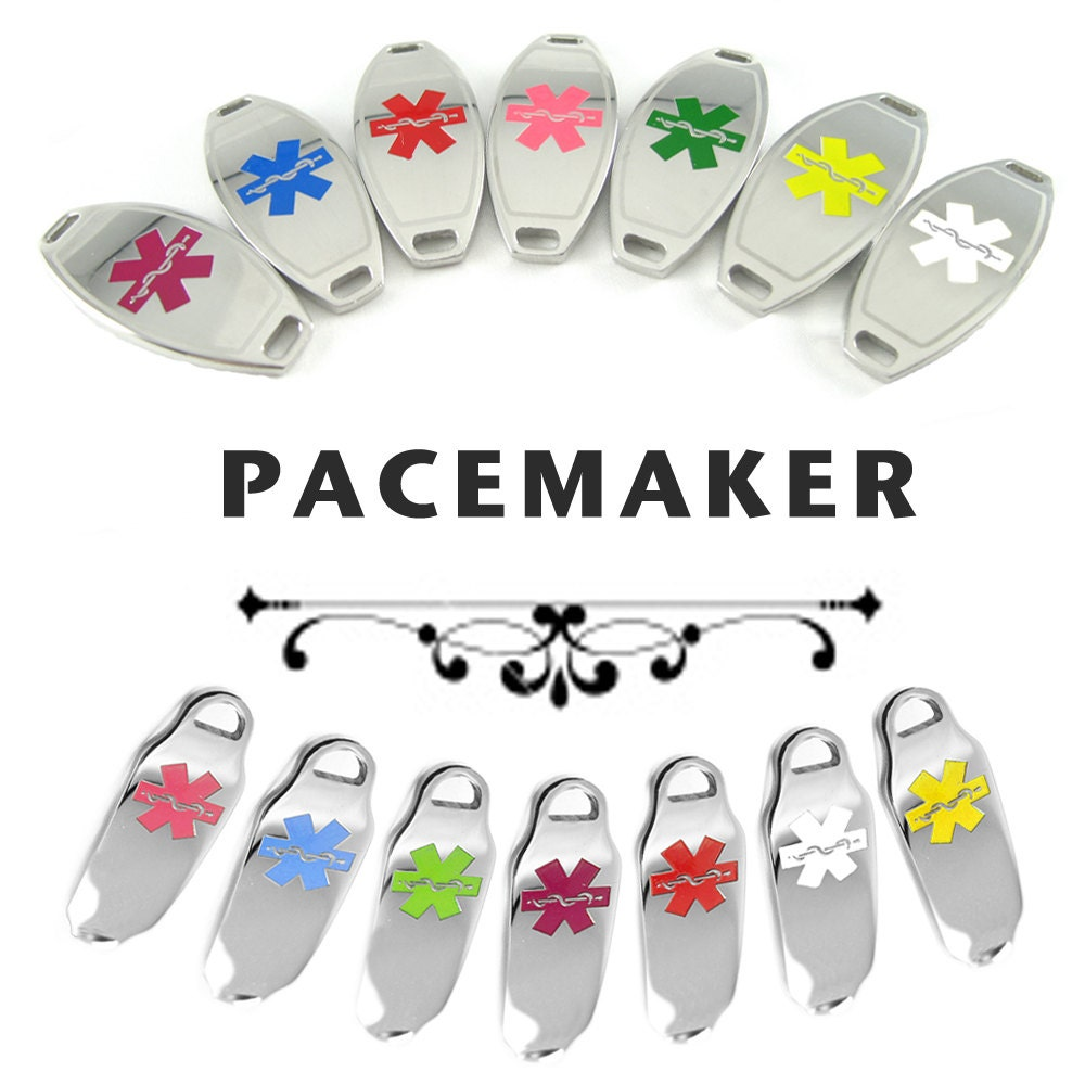 Pacemaker Medical Id Plate Pre Engraved For Stylish Beaded