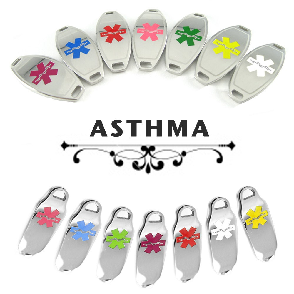 Asthma Medical Alert Id Plate Pre Engraved For Stylish