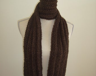 Chocolate brown baby alpaca scarf - hand knit