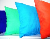Decorative Neon Pillows, Set of 4, Neon Orange, Neon Green, Bright Blue, and Dark Purple, Neon Cushions