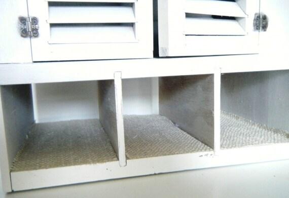 Rustic Burlap Wooden Curio Cabinet Wall Organizer Cubby