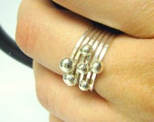 Sterling silver stacking rings silver nugget stacking ring set silver ball rings stackable ring