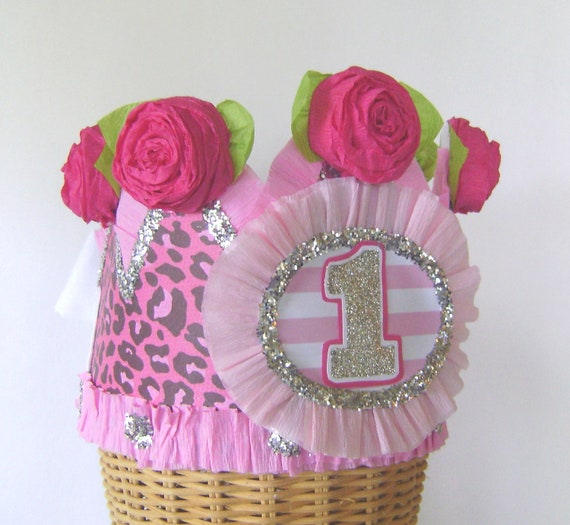 1st  Birthday  Crown  Hat  Adult or Child-  pink cheetah- customize with any number or saying