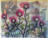 FIELD OF MEMORIES - Original mix media acrylic and oil on paper collage