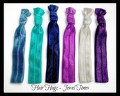 HAIR HUGZ Ties -   Jewel Tones Set of 6 Satin Elastic Hair Tie Bracelets Smoke Blue, Jade, Navy, Violet, Silver, Deep Purple