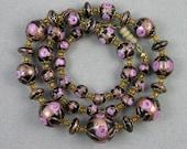 Vintage 1920s Venetian Wedding Cake Glass Beads Necklace