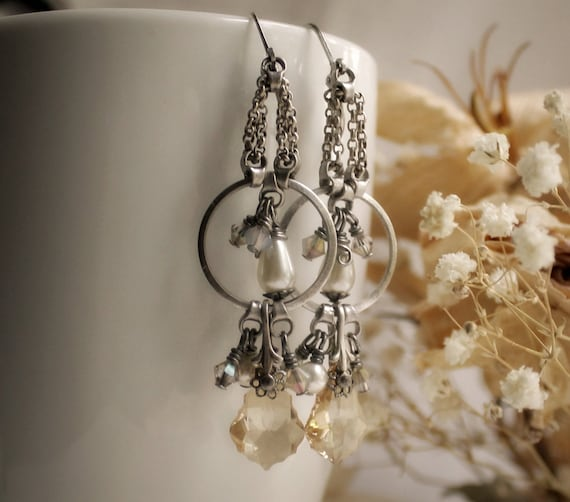 Madame Armory Aged Silver and Swarovski Earrings - Silver - Champagne - Pearl - Warrior - Valkyrie - Fantasy - Warm - Bridal