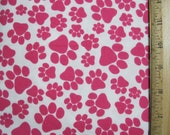 "Flannel Fabric Bright Pink Dog Paw Print Fat Quarter 18"" X 21"""