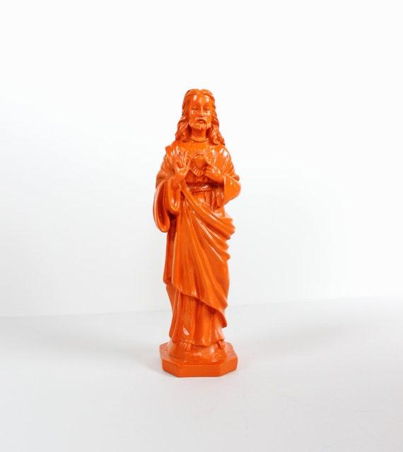 Upcycled JESUS Figurine - Tangerine Orange - Religious Figure