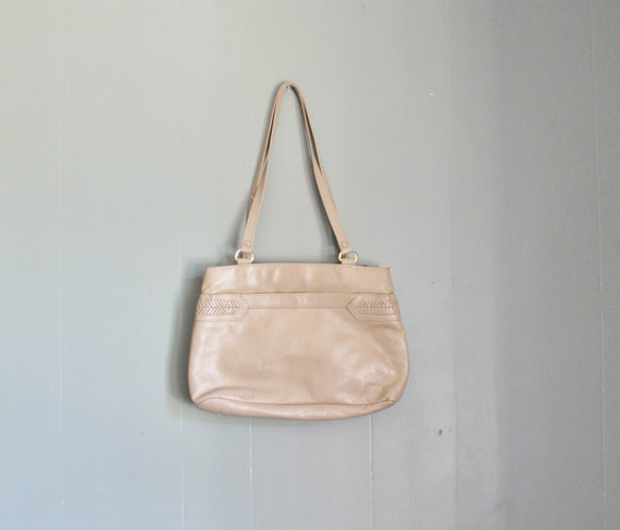Vintage Leather Purse - Boho Details - Taupe 70s 80s
