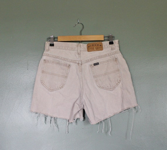 10 Dollar Sale Vintage 80s RIDERS Denim Shorts - Women M - Light Beige Jean