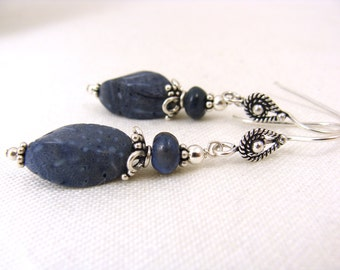 Denim blue sponge coral, dumortierite and sterling silver Bali earrings