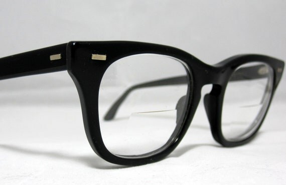 Reserved: Vintage Mens EyeGlasses.  Horn Rim Black Glasses. Mad Men Style.
