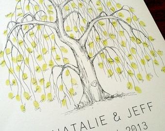Fingerprint Tree Wedding Guest Book Alternative, Original Hand-drawn Medium Willow Design (ink pads sold separately)