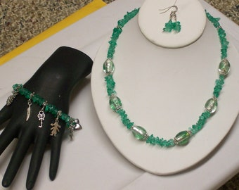 Big discount - 55 percent off ... 3 piece Jewelry Set in Mint Green ... Necklace, Charm Bracelet and Earrings  ... item #JSG -3