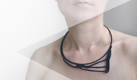 Black geometric crochet lace okapi necklace - fashion - Paris -  France - statement necklace - geometric necklace