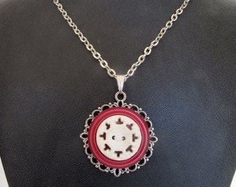 Vintage Button Pendant Necklace