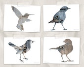 bird postcard set, animal postcards, set of 4, bird silhouette art, whimsical animal art, gray, blue, reclaimed wood art, woodland decor
