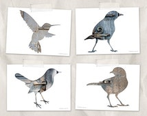 bird postcard set, animal postcards, set of 4,bird silhouette art, whimsical animal art, gray, blue, reclaimed wood art, woodland decor