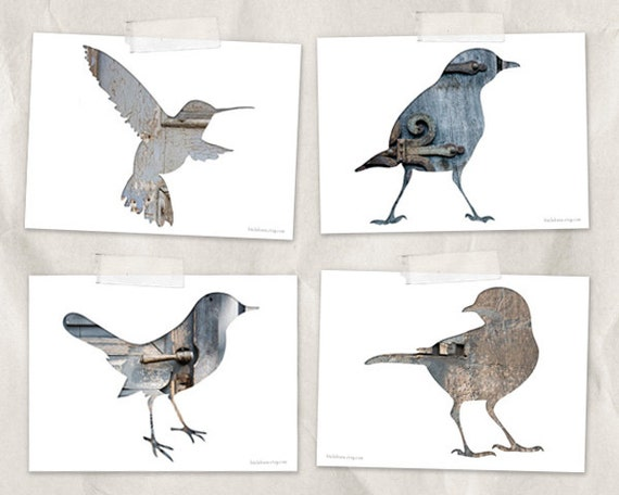 bird postcard set, animal postcards, set of 4, bird silhouette art, whimsical animal art, gray, blue, reclaimed wood art, woodland decor