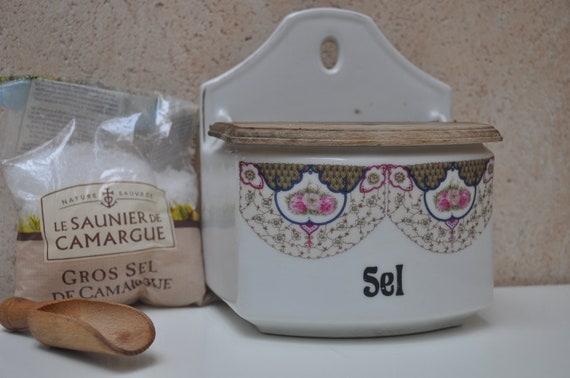 Large Ceramic Lidded French Country Salt Box - Reserved for Shoko