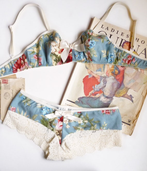 Floral Flannel Lingerie Set Perfect for Winter Handmade to Order