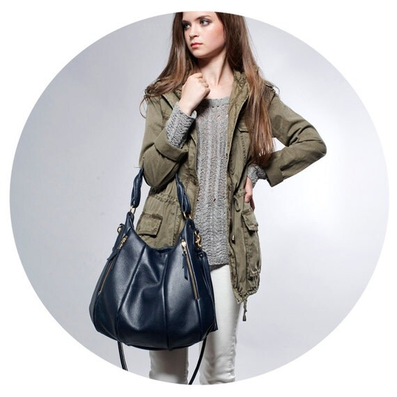 Soft Leather purse - OPELLE Lotus Bag - Soft Pebbled Leather with Zipper Pockets in Mariner