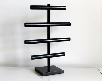 Men's Jewelry Organizer, Bracelet Holder, Large & Tall Glossy Black, Watch Organizer, Watch Rack, Craft Show Display Rack, For Guys Men Dude