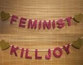 """Silver  & Blue Topaz """"Feminist Killjoy"""" Glitter Banner for Emily RESERVED"""