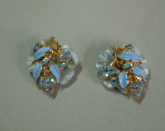 Vintage Blue Leaf Earrings